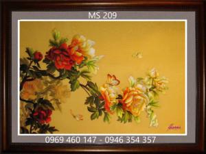 tranh thêu hoa mẫu đơn 210