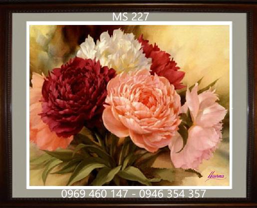 tranh thêu hoa mẫu đơn 227
