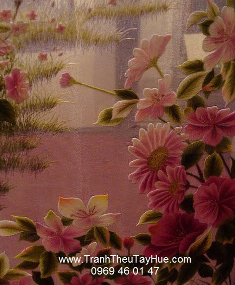 tranh thêu hai mặt hoa cúc