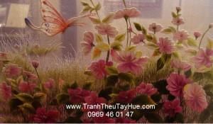 tranh thêu truyền thống hai mặt hoa cúc