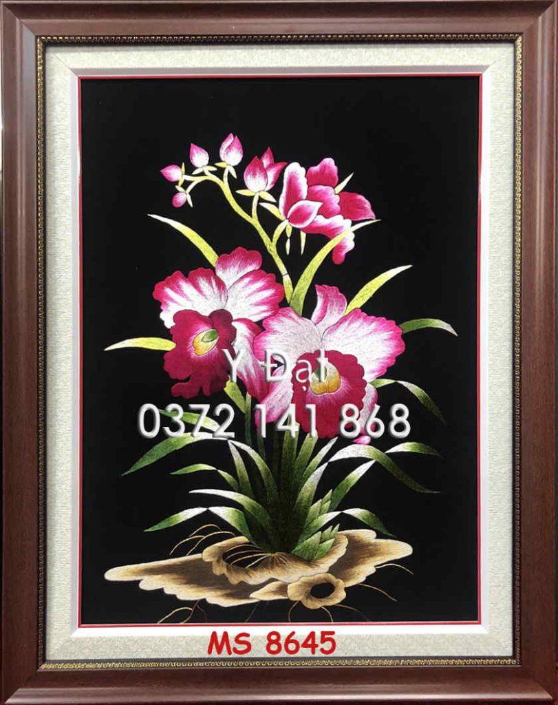 tranh thêu hoa lan