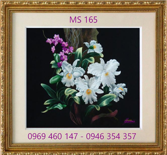 tranh thêu hoa lan 165