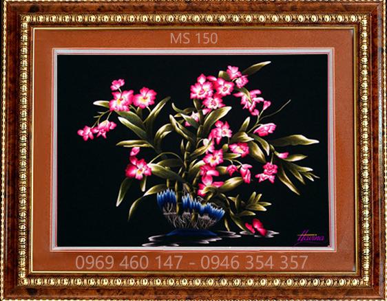 tranh thêu hoa lan 150