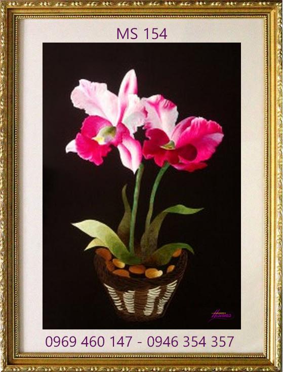 tranh thêu hoa lan 154