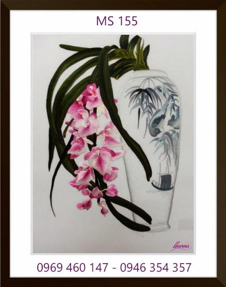 tranh thêu hoa lan 155