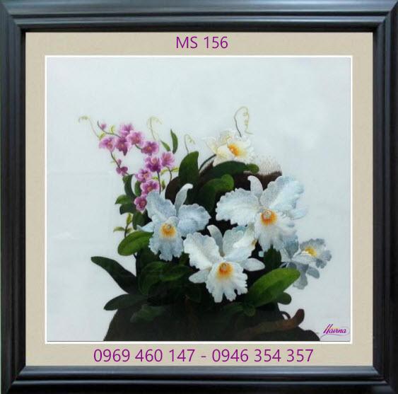 tranh thêu hoa lan 156