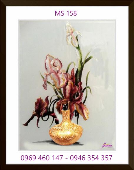 tranh thêu hoa lan 158
