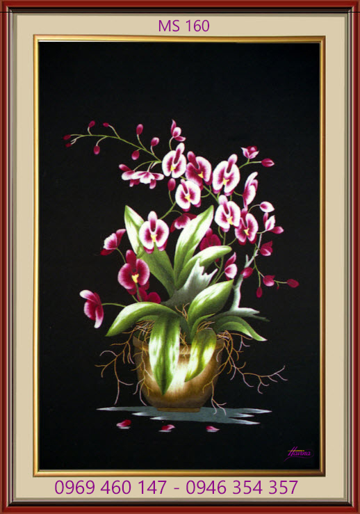 tranh thêu hoa lan 160