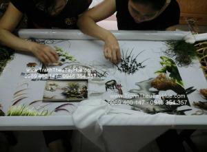 tranh thêu phong cảnh làng quê Việt Nam