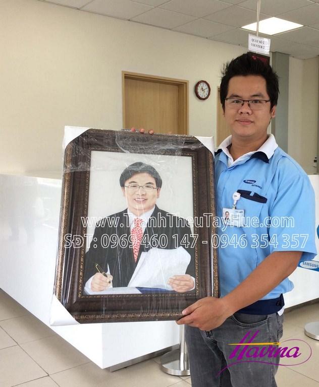 tranh thêu chân dung Ông Kim Hyun-suk ( Seok ) - President Visual Display Unit Samsung Electronics Co.