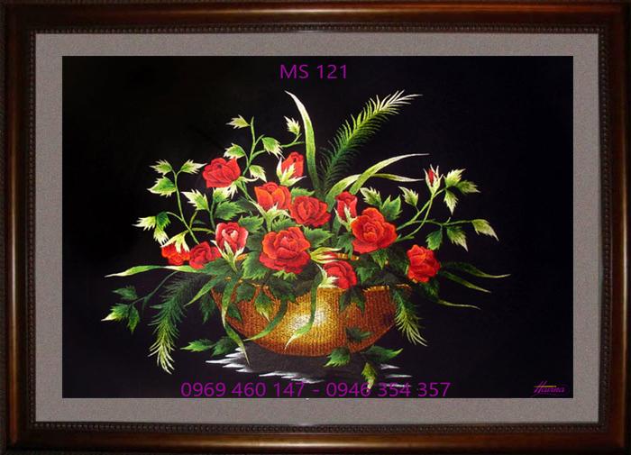 tranh thêu hoa hồng 121