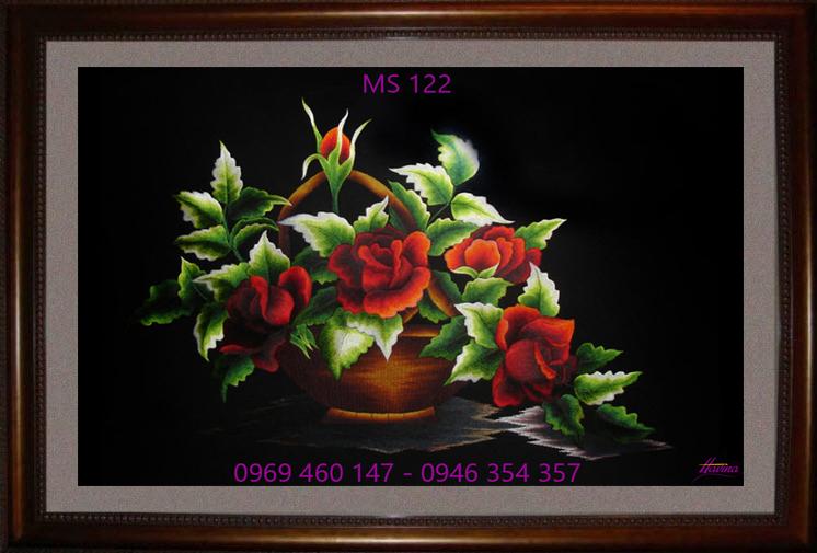 tranh thêu hoa hồng 122
