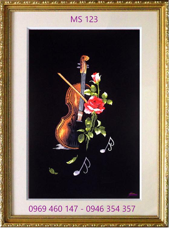 tranh thêu hoa hồng 123