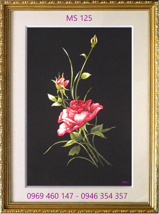 tranh thêu hoa hồng 125
