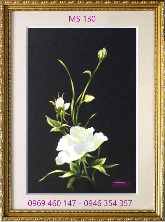 tranh thêu hoa hồng 130