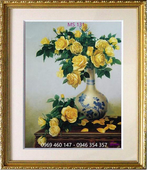 tranh thêu hoa hồng 131