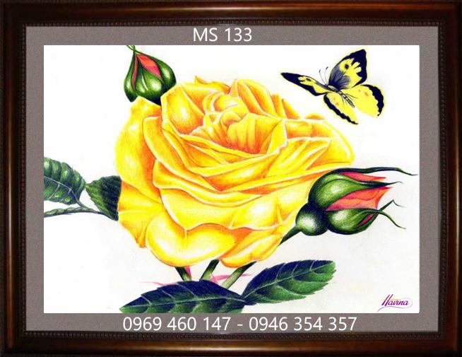 tranh thêu hoa hồng 133