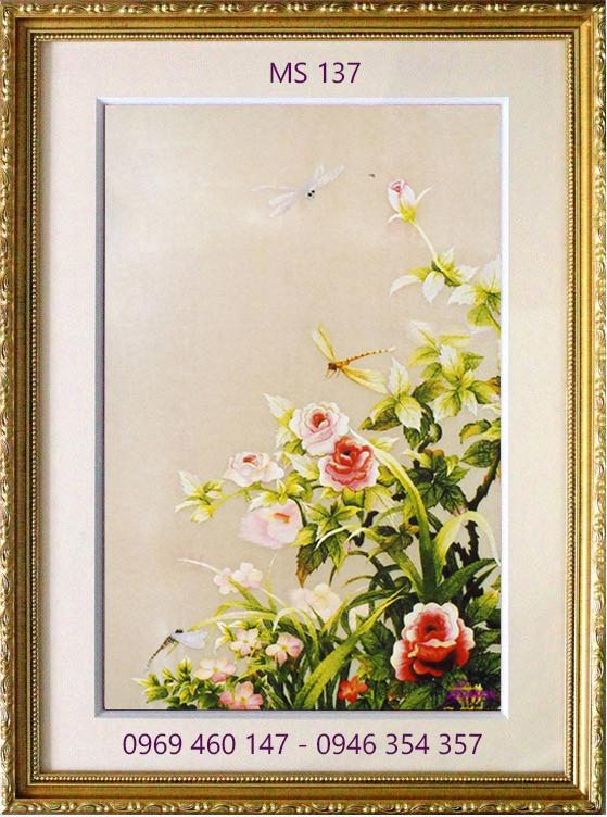 tranh thêu hoa hồng 137