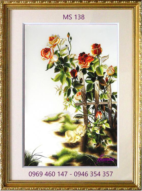 tranh thêu hoa hồng 138