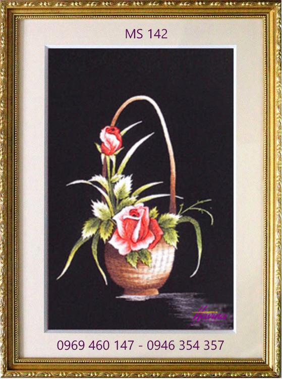 tranh thêu hoa hồng 142
