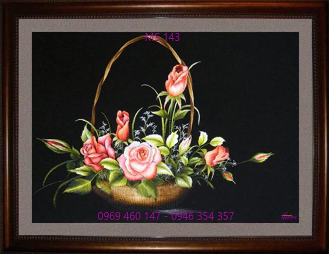 tranh thêu hoa hồng 143