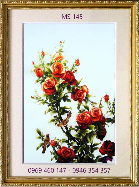 tranh thêu hoa hồng 145