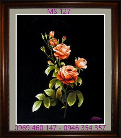 tranh thêu hoa hồng 127