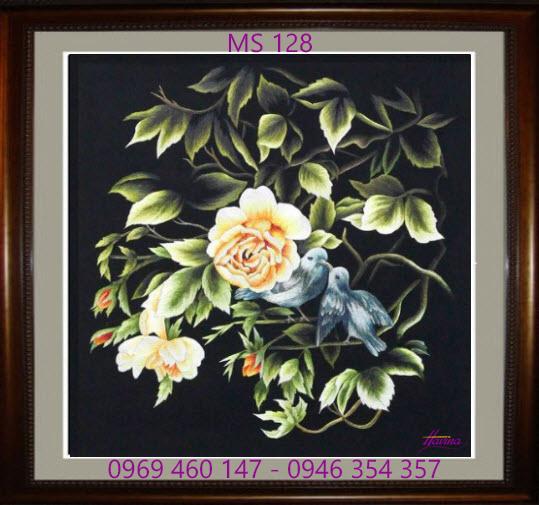 tranh thêu hoa hồng 128