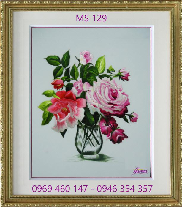 tranh thêu hoa hồng 129