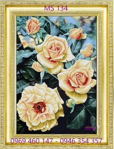 tranh thêu hoa hồng 134