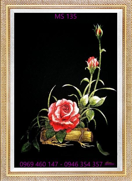 tranh thêu hoa hồng 135