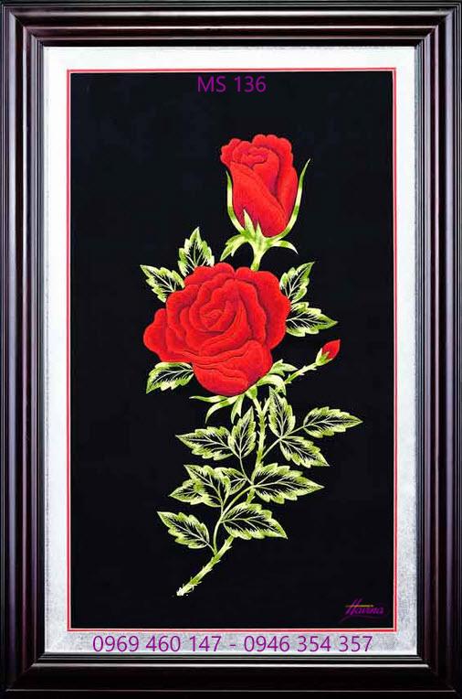 tranh thêu hoa hồng 136