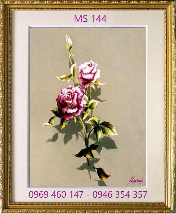 tranh thêu hoa hồng 144