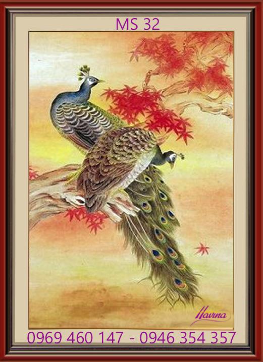 tranh theu chim cong