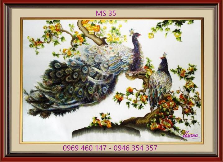 tranh theu chim công