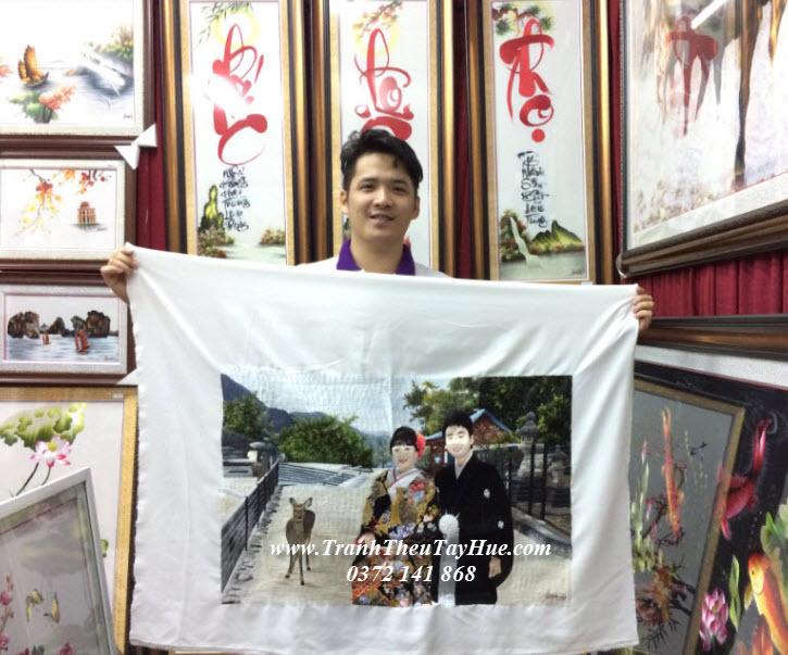 Tranh thêu chân dung tặng vợ chồng sếp người Nhật