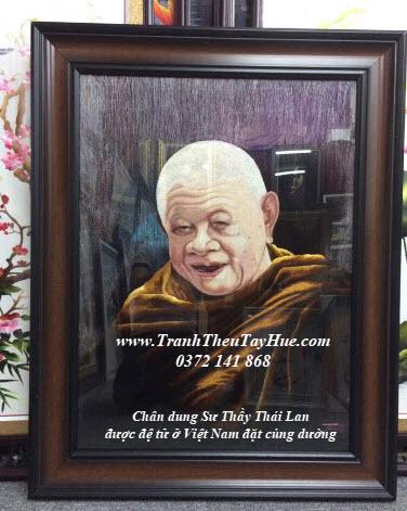 Tranh thêu chân dung làm quà tặng Thầy ở Thái Lan