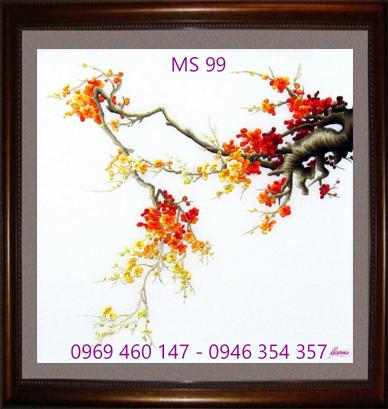 tranh thêu hoa đào 99