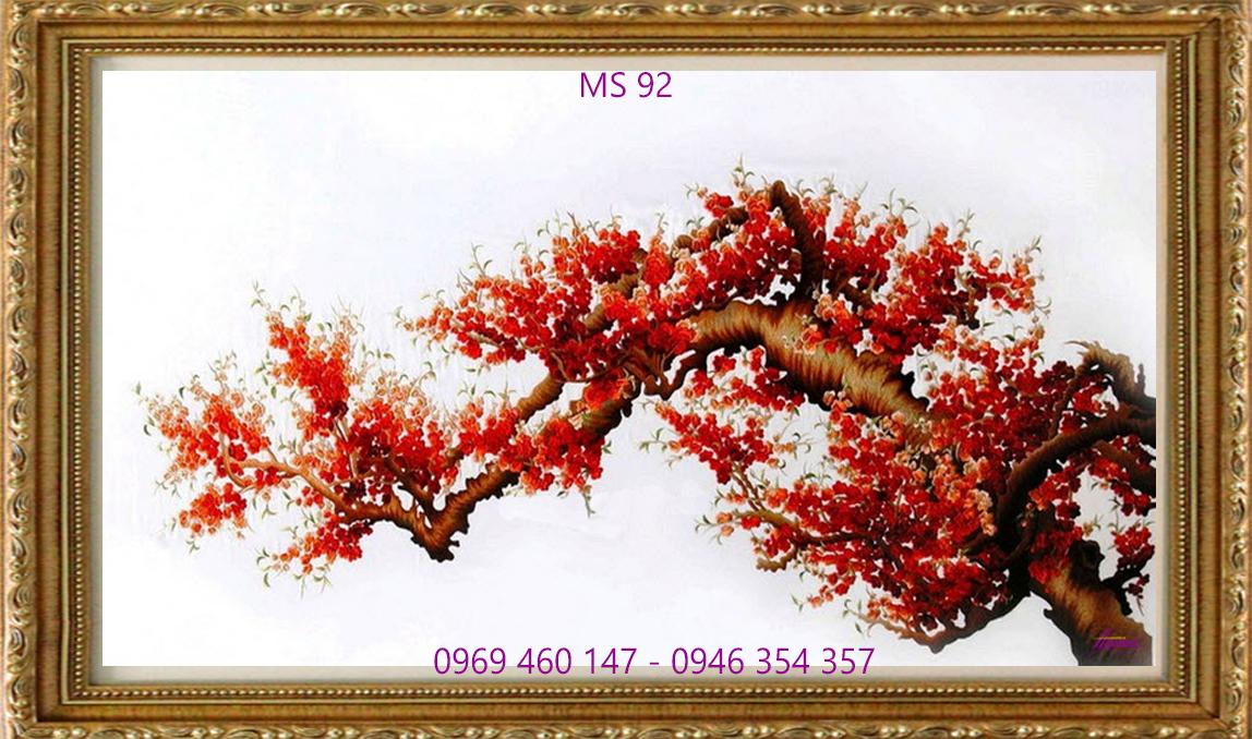 tranh thêu hoa đào 92