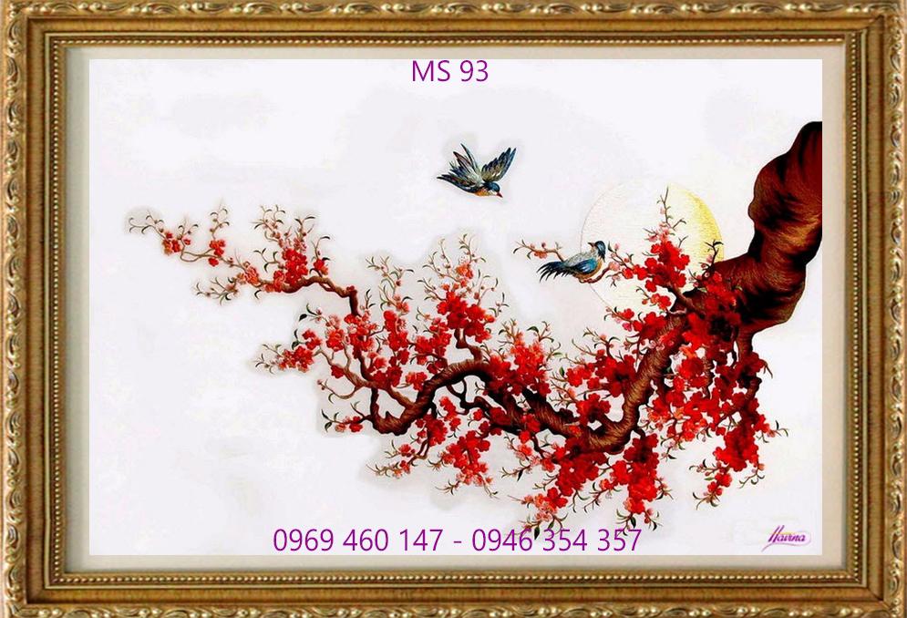 tranh thêu hoa đào 93