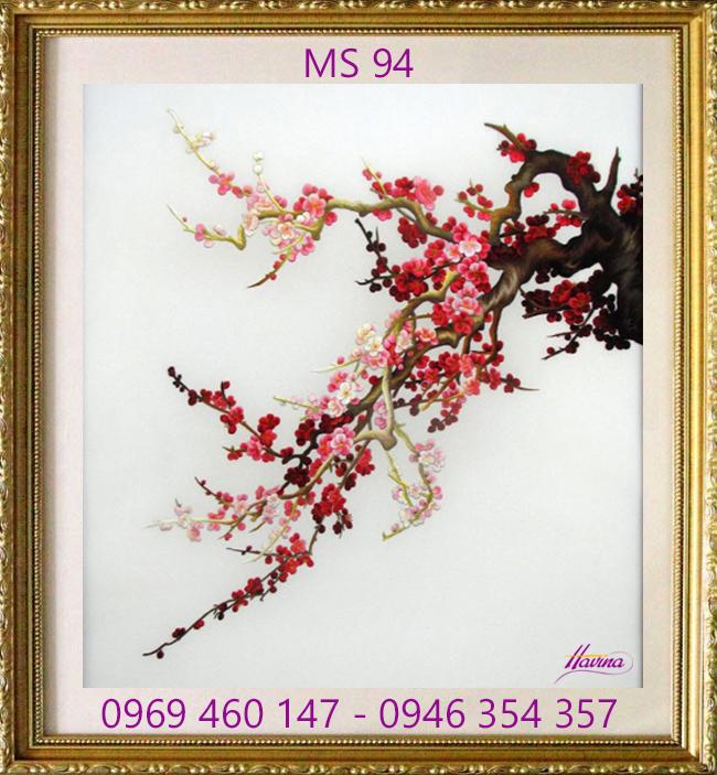 tranh thêu hoa đào 94