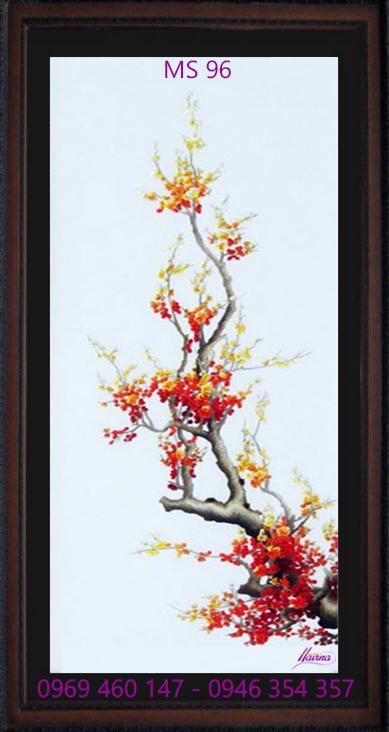 tranh thêu hoa đào 96