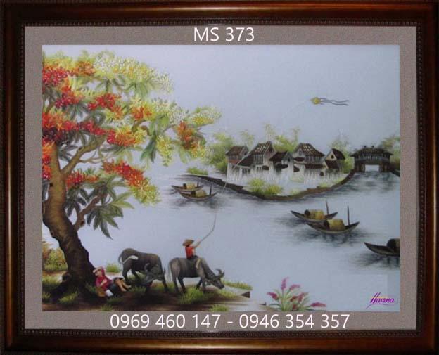 tranh thêu phong cảnh làng quê 373