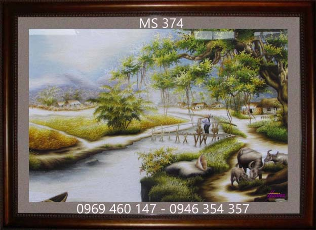 tranh thêu phong cảnh làng quê 374