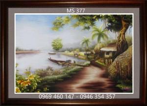 tranh thêu phong cảnh làng quê 377