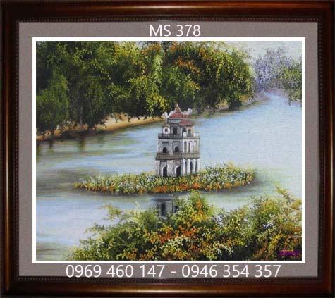 tranh thêu phong cảnh làng quê 378