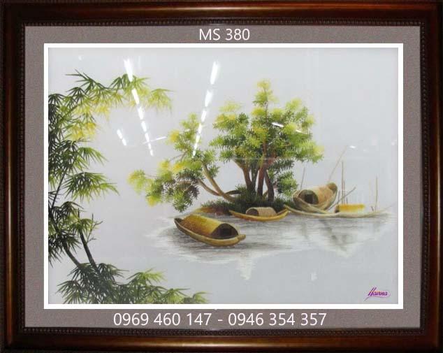 tranh thêu phong cảnh làng quê 380