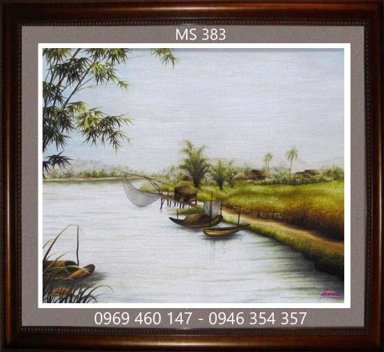 tranh thêu phong cảnh làng quê 383