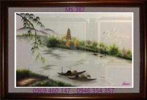tranh thêu phong cảnh làng quê 387