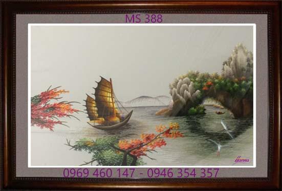 tranh thêu phong cảnh làng quê 388